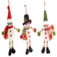 "Club Pack of 12 Snowman with Glasses Christmas Hanging Ornaments 14"" - Green"
