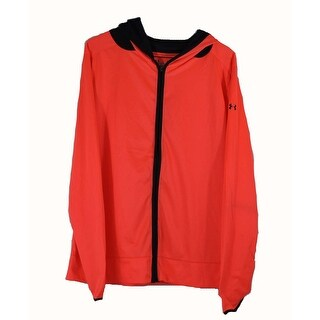 Under Armour Womens Large Neon Orange Black Running Heatgear Zip Up Jacket NWOT