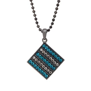 Crystaluxe Tile Pendant with Indicolite & Satin Swarovski Crystals in Sterling Silver - Teal