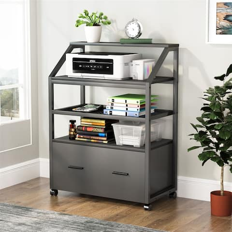 Drawer Lateral File Cabinet, Wood Mobile Filing Cabinet, Rolling File Cabinet Printer Stand