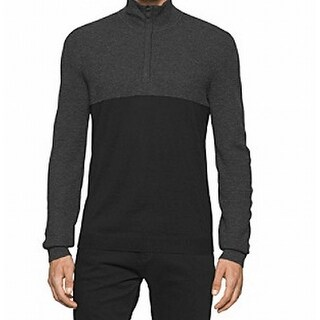 Calvin Klein NEW Black Mens Size Medium M Colorblocked 1/2 Zip Sweater