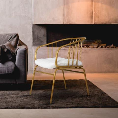 "NUU GARDEN Iron Dining Chair 23.80"" W x 21.00"" D x 29.30"" H - Gold"