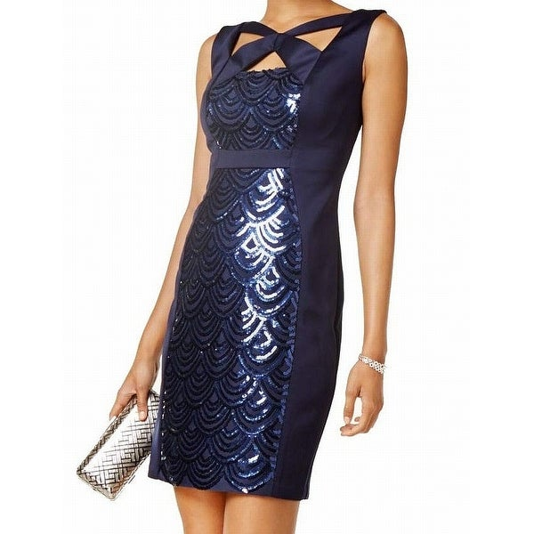 f377bb4e Shop Connected Apparel Navy Blue Womens Size 8 Sequin-Panel Sheath ...