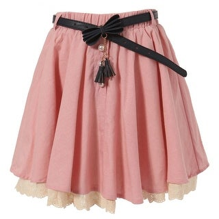 Richie House Little Girls Pink Ivory Lace Hem Pearl Accented Belted Skirt 2-6