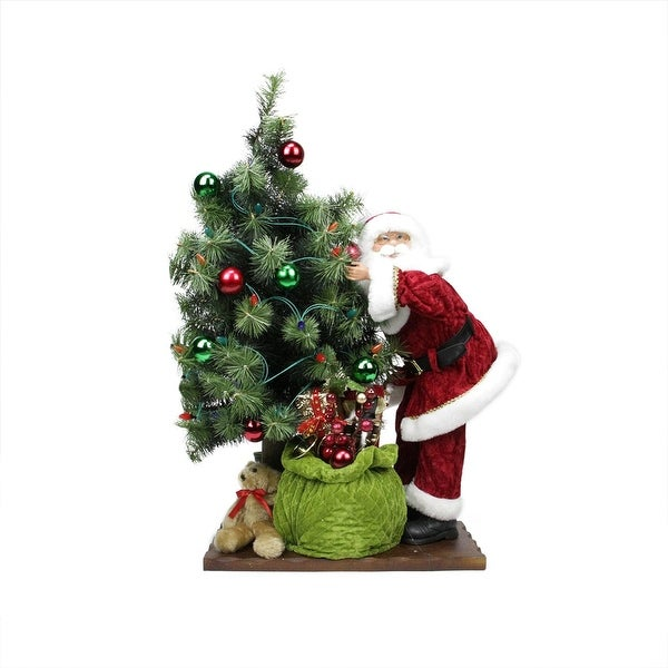 "30"" Battery Operated Lighted LED Santa Claus with Tree and Gift Bag Christmas Figure on Wooden Base - green"