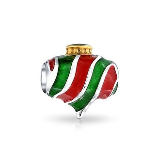 Bling Jewelry 925 Silver Red Green Striped Christmas Ornament Bead Charm