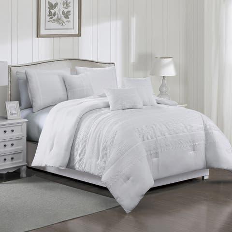 Elight Home Polyester Microfiber 7pc Comforter Set - White