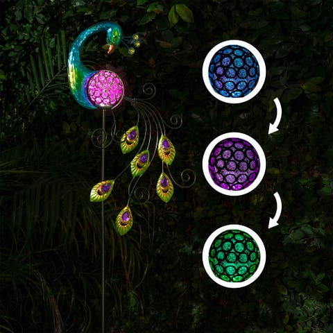 Solis 48-inch Peacock with Color-changing LED Stake by Havenside Home