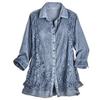 Women's Lavish Lace Layered Button Down Blouse - Cotton