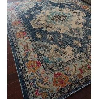 safavieh monaco bohemian medallion navy light blue distressed rug 8 39 x 10 39 free shipping. Black Bedroom Furniture Sets. Home Design Ideas