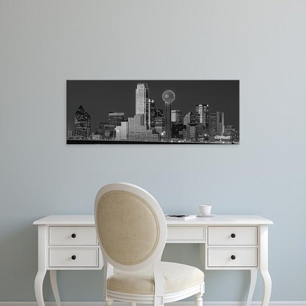 Easy Art Prints Panoramic Images's 'Texas, Dallas, Urban skyline at night BW, Black and White' Canvas Art
