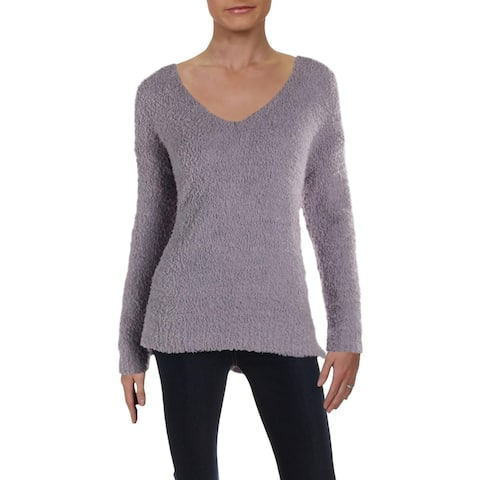 Cupio Womens Sweater Double V Cut-Out - Lavender Haze