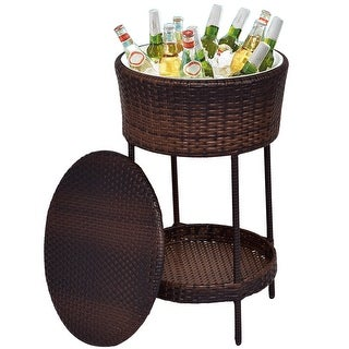 Costway Patio Cooler Ice Bucket Brown Outdoor Wicker Storage Poolside Beverage Cart Deck