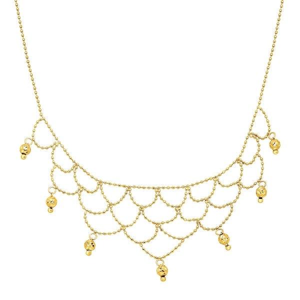 Eternity Gold Beaded Bib Necklace in 10K Gold