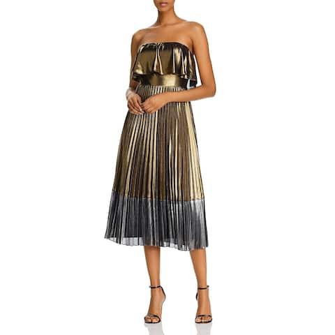Aidan Mattox Womens Midi Dress Metallic Pleated - Gold
