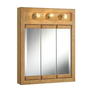 """Design House 530592 24"""" Framed Triple Door Mirrored Medicine Cabinet with 3 Lights from the Richland Collection"""