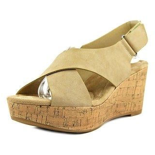 CL By Laundry Dream Girl Women  Open Toe Leather Nude Wedge Sandal