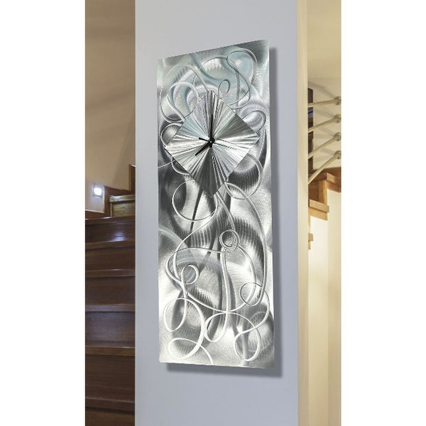 Statements2000 Silver 24-inch Metal Hanging Wall Clock - Light Source Clock