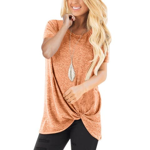 Knot Side Twist Knit Short Sleeves T Shirts