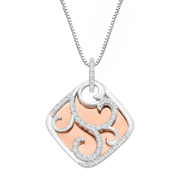 1/6 ct Diamond Filigree Overlay Pendant Necklace in Sterling Silver & 14K Rose Gold