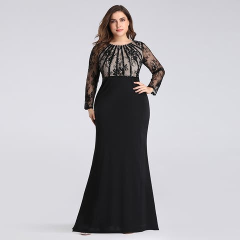 adc2e507c2 Ever-Pretty Womens Plus Size Lace Long Sleeve Formal Evening Dress Ball  Gown 07771