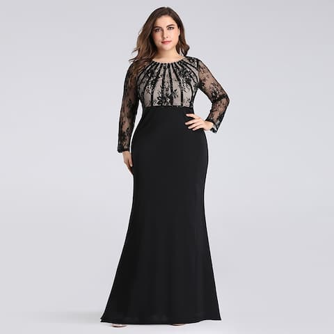 ca8e68bcf87bd Ever-Pretty Women's Plus Size Lace Long Sleeve Mermaid Evening Prom Dress  07771