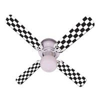 Checkered Flag Print Blades 42in Ceiling Fan Light Kit - Multi