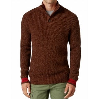 Tommy Hilfiger NEW Brown Mens Large L Mock Button Turtleneck Sweater