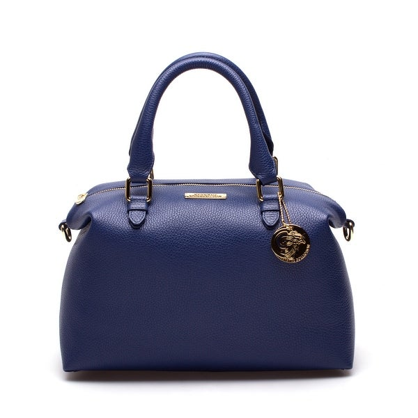 68a08452392e Shop Versace Women Leather Top-Handle Satchel Handbag Blue - S ...
