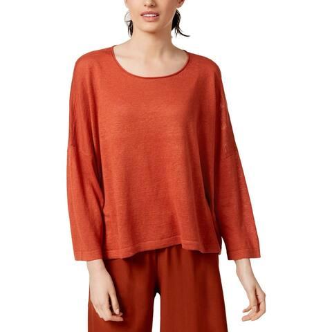 Eileen Fisher Womens Pullover Sweater Organic Linen Jewel Neck - L/XL