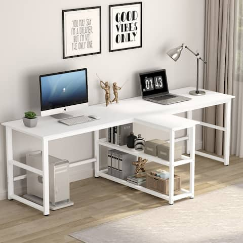 90.5 inch Double Computer Desk, Extra Long Two Person Desk with Storage Shelves