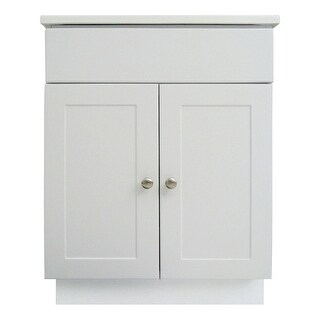 """Design House 541607 24"""" Freestanding Vanity Cabinet with Marble Vanity Top - White"""