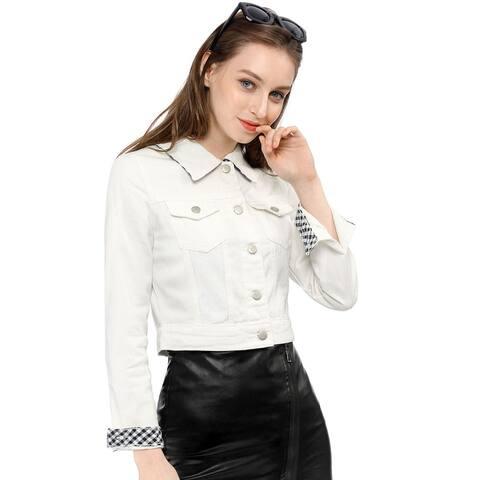 Women Button Down Long Sleeves Basic Casual Cropped Denim Jean Jacket - White