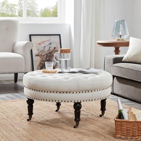 Belleze Large Ottoman Cushion Round Tufted Linen Bench w/ Caster Beige