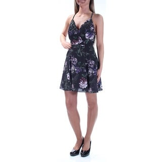 FAME AND PARTNERS $219 Womens New2255 Black Purple Floral Low Back Dress 2XS B+B