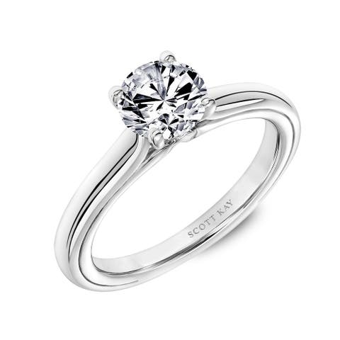 Platinum 0.75 CT Diamond Solitaire Engagement Ring with Polished Shank and Namaste by Scott Kay