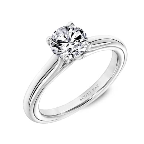 Platinum 1.25 CT Lab Created Diamond Solitaire Engagement Ring with Polished Shank and Namaste by Scott Kay
