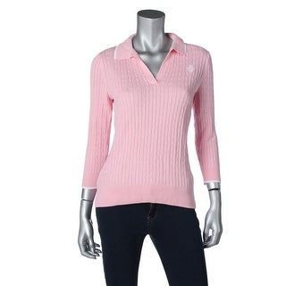 L-RL Lauren Active Womens Cable Knit Collared Pullover Sweater - S