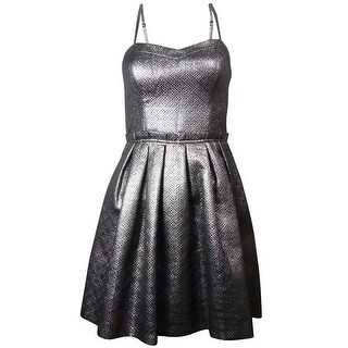 Guess LA Women's Allison Metallic Sweetheart Dress - Silver