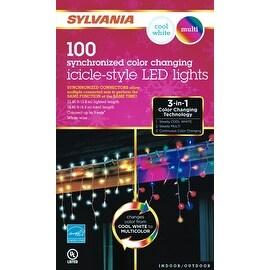 Sylvania V47597-71 LED White/Multi LED Icicle Lights, 6.2'