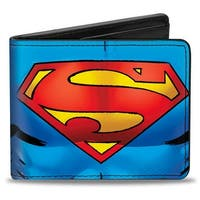 Superman Galactic Battle Chest Logo Blue Red Yellow Bi Fold Wallet - One Size Fits most