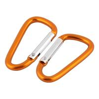 Unique Bargains Tripper Aluminium Alloy D Ring Shaped Bag Carabiner Snap Hook Orange 2 Pcs
