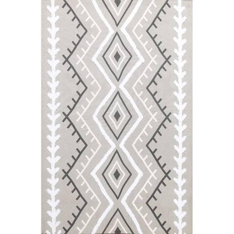 """Wool/ Silk Highlight Southwestern Modern Oriental Area Rug Hand-tufted - 4'9"""" x 6'6"""""""