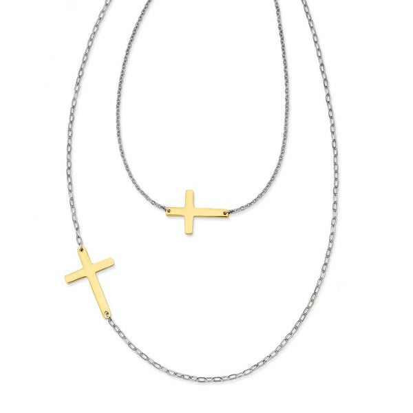Chisel Stainless Steel Double Sideways Cross Layered Necklace (3 mm) - 18 in