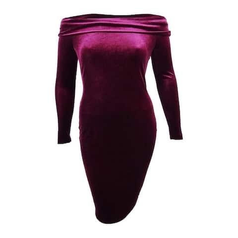 Calvin Klein Women's Petite Off-The-Shoulder Velvet Sheath Dress - Wine