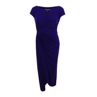 Connected Women's Plus Size Embellished Faux-Wrap Gown