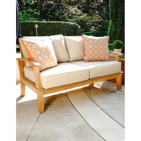 "Laurel Tan Teak 57"" Outdoor Sofa with Cushions"