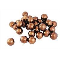 32 Count Shiny Mocha Brown Shatterproof Christmas Ball Ornaments -