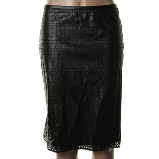 Calvin Klein Womens Faux Leather Cut-Out Pencil Skirt - 14
