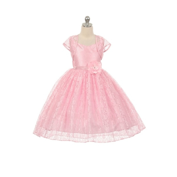 6883e8ff7 Shop Chic Baby Girls Pink Lace Hi-Low Special Occasion Jacket Dress 8-14 -  Free Shipping Today - Overstock - 18174809